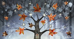 Autumn Leaves by Chloe Nugent - Original Glazed Mixed Media on Board sized 30x16 inches. Available from Whitewall Galleries